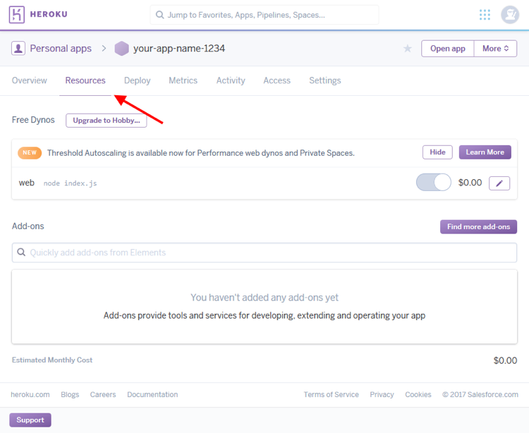 Heroku add-ons