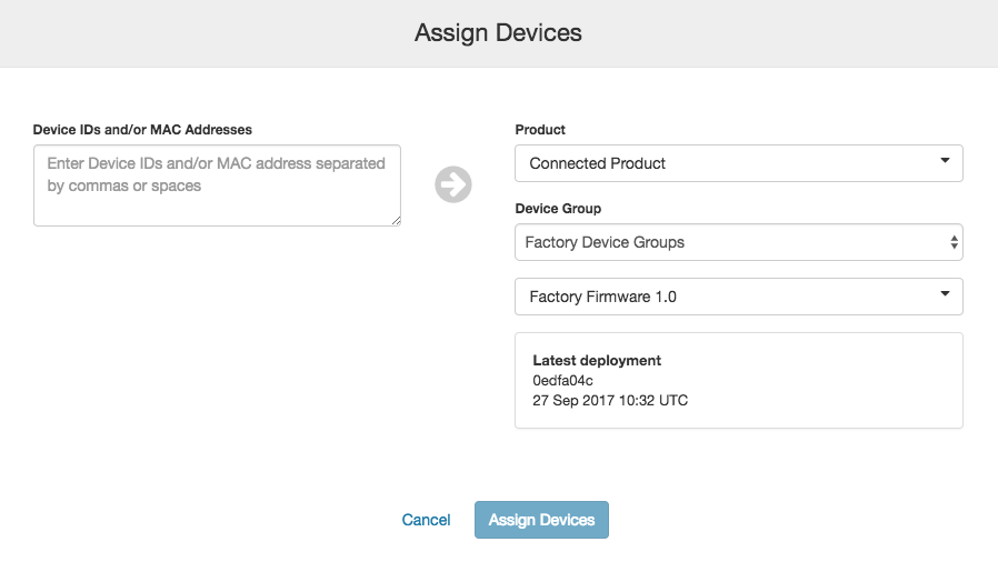 Assigning a Factory BlinkUp Fixture to a Factory Device Group in impCentral