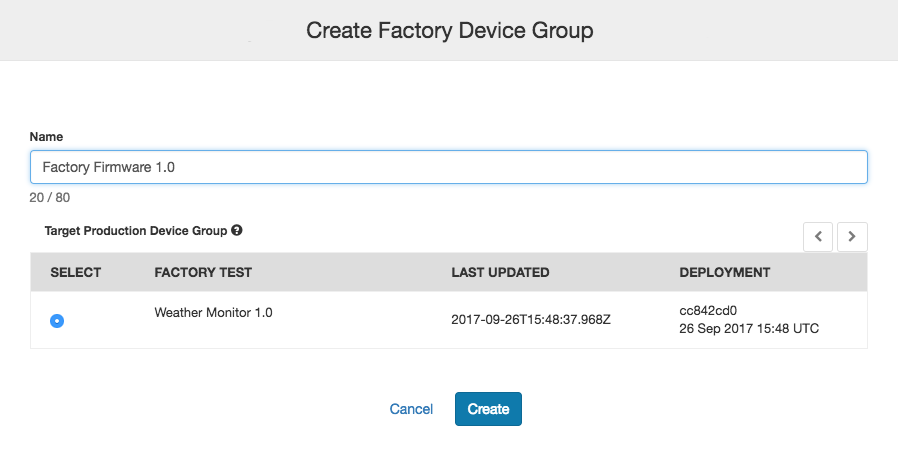 Creating a Factory Device Group in impCentral