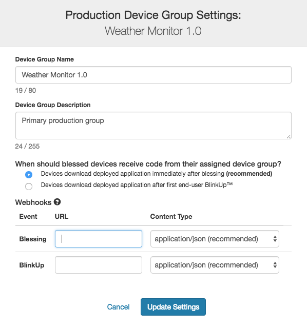 Production Device Group settings in impCentral