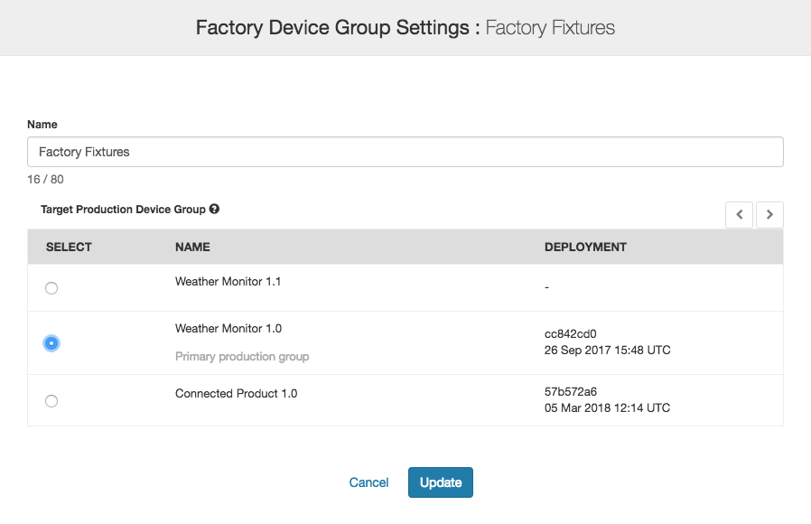 Factory Device Group Settings
