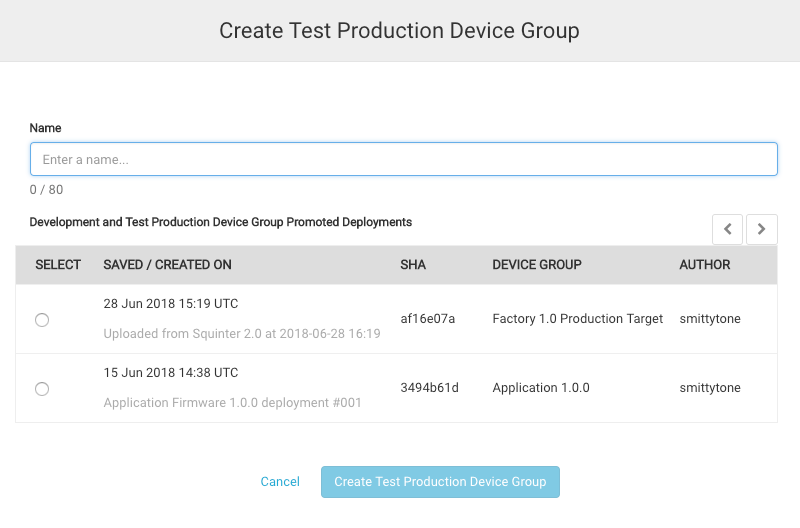 Creating a Test Production Device group