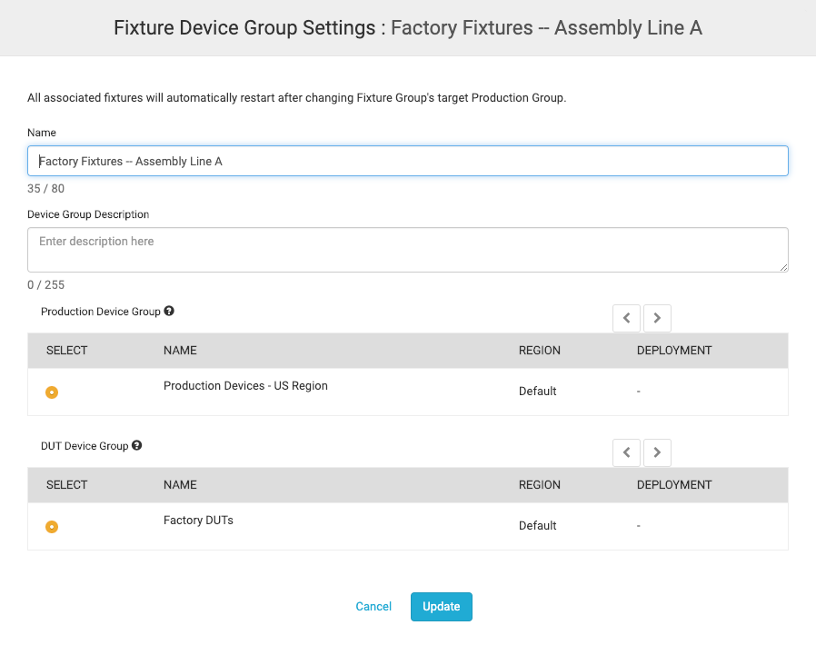 Fixture Device Group Settings