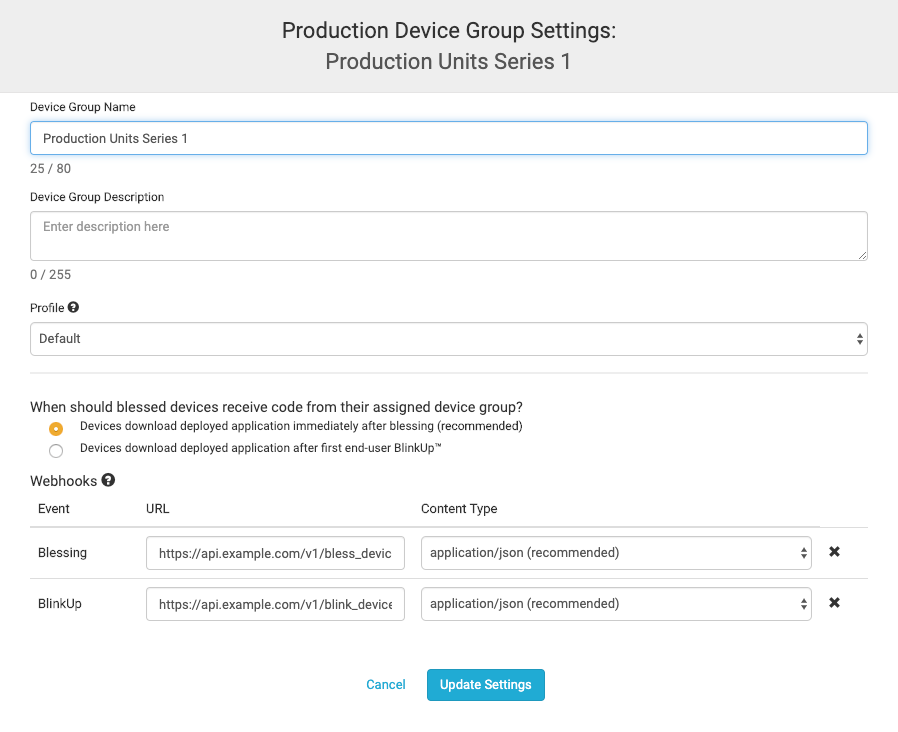 Production Device Group Settings