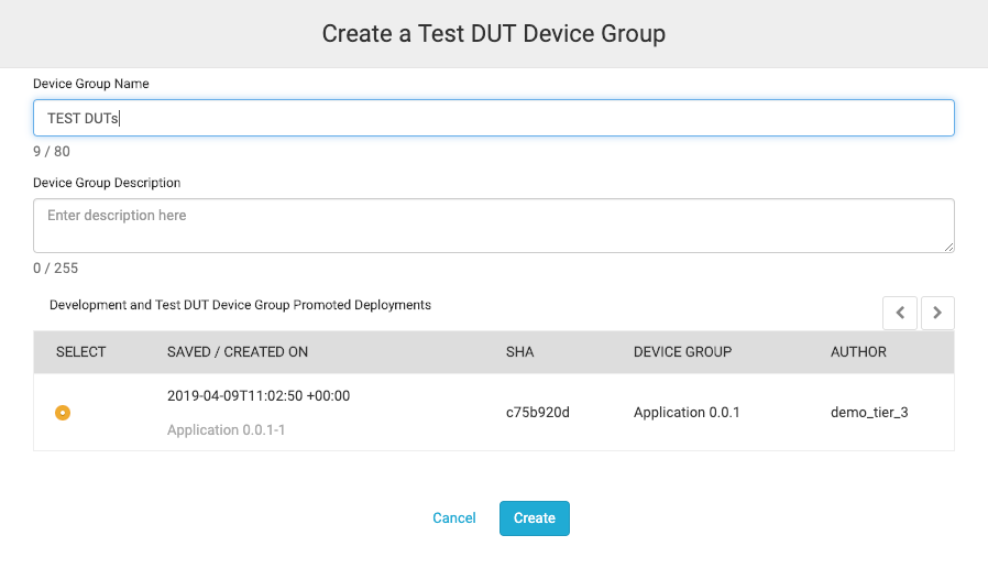 Creating a Test DUT Device group