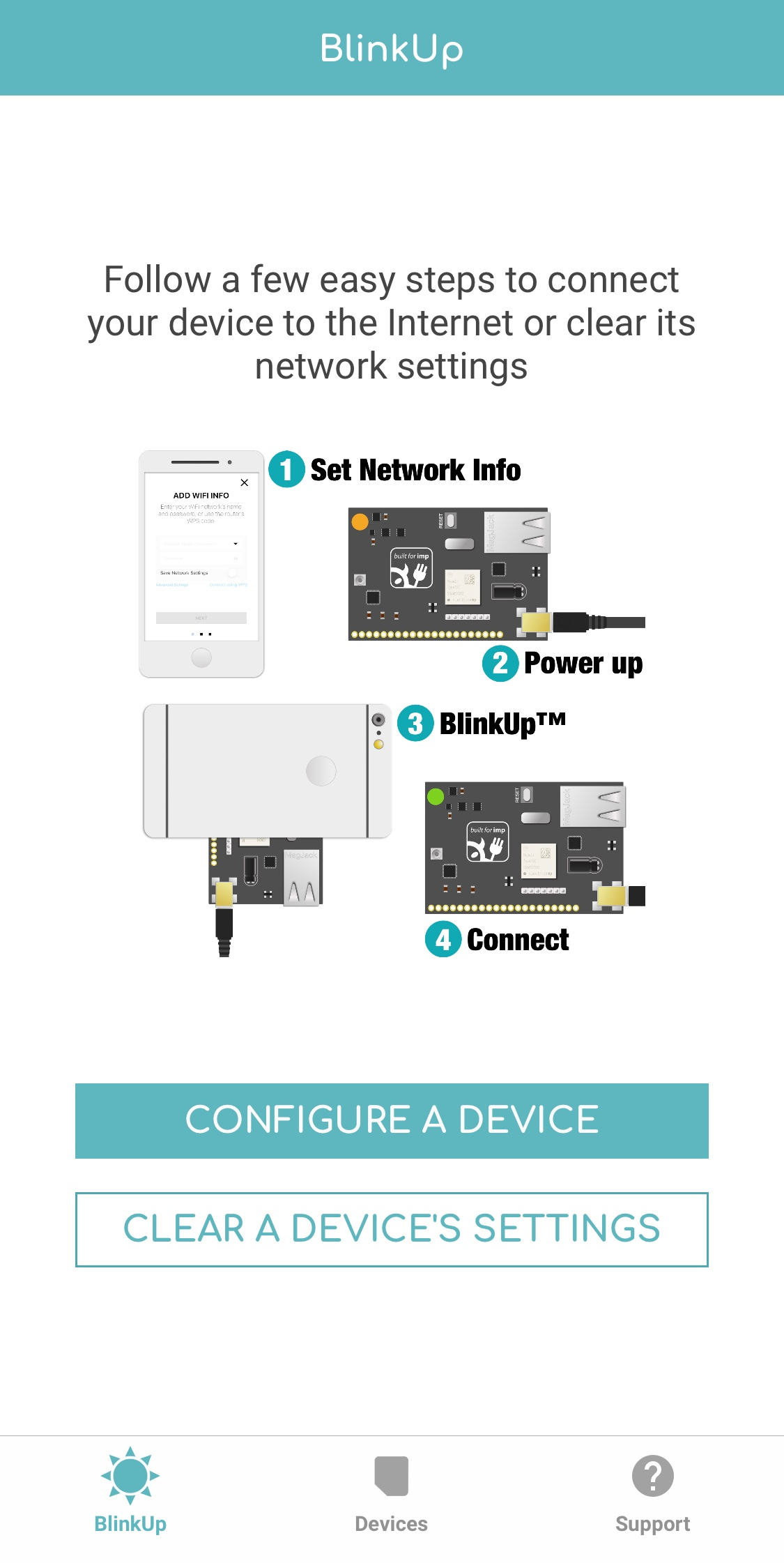 In the Electric Imp app, click Configure a Device to start activation