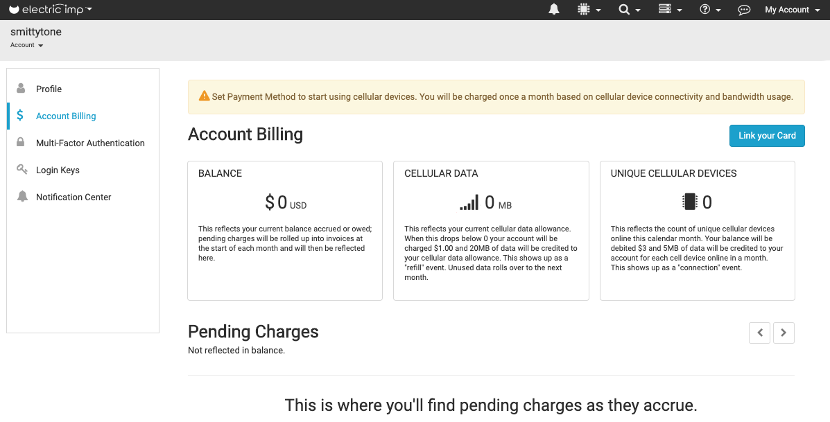 Set up account billing in impCentral
