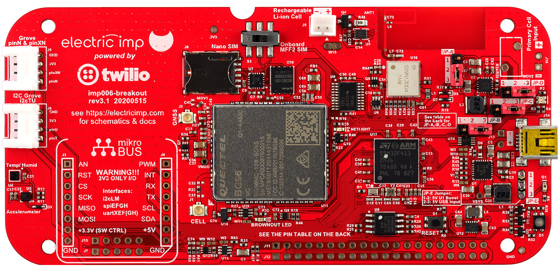 The imp006 Breakout Board front view