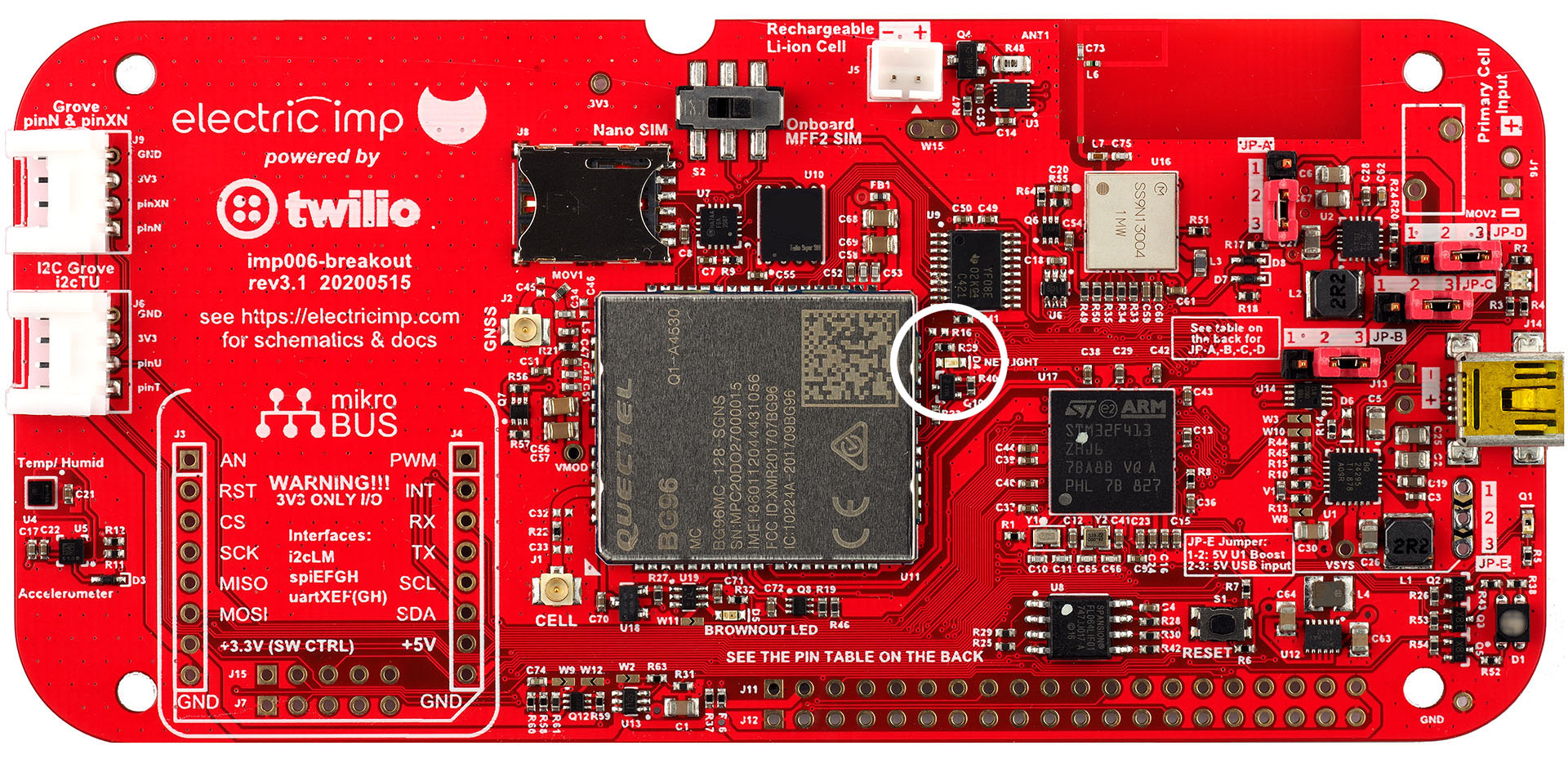 imp006 Breakout Board cellular network activity LED